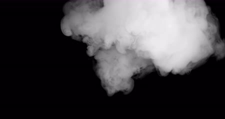 poluir : blowing horizontal steam with white smoke isolated on black background