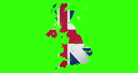 separado : brexit half uk great britain united kingdom flag on great britain map puzzle pieces falling down on chroma key green screen background, vote for united kingdom exit concept, with alpha Stock Footage