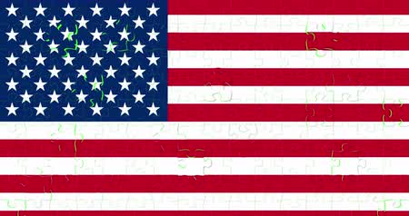 president of united states : united states of america flag on puzzle pieces background, falling down on chroma key green screen background, usa vote election, meeting or negotiations concept,with alpha