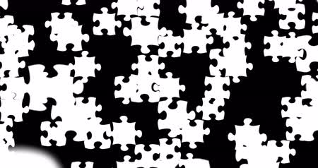головоломки : many puzzle pieces with color white falling down on black screen background, abstract motion background, new idea solve problem finance business solution