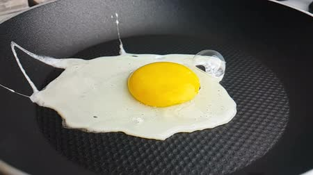 pan fried : close-up of fried eggs in the pan, shot in slow motion concept of healthcare and medical and diet