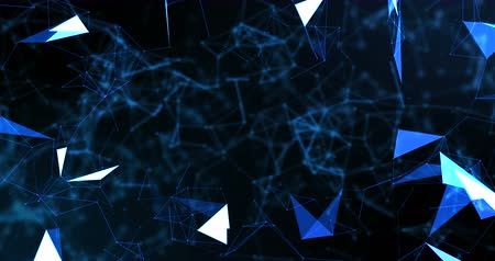 trójkąt : blue abstract 3d rendering technology plexus dynamic digital surface on black background,  geometrical shape with blue lines particles futuristic movement background, ready for movie titles and
