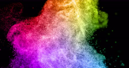 barevný : abstract real multicolor powder explosion on black background, slow motion