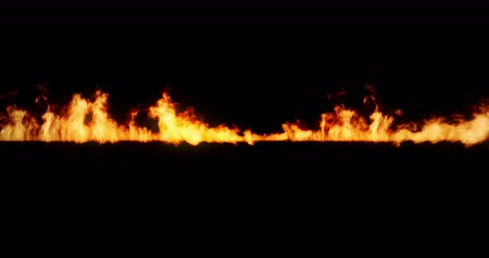 firebox : realistic fire flames burn with ash rise movement frame on black background, with alpha Stock Footage