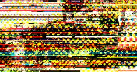 pixellated : abstract multi color realistic screen glitch flickering, analog vintage TV signal with bad interference and color bars, static noise background, overlay