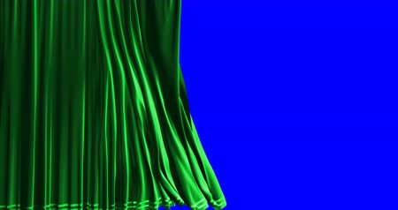 vysoká klíč : close green curtain movement background, with chroma key blue