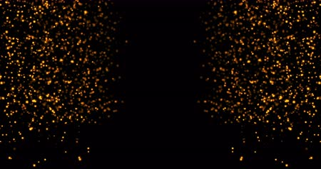flet : waterfalls of golden glitter sparkle bubbles particles on black background,happy new year holiday