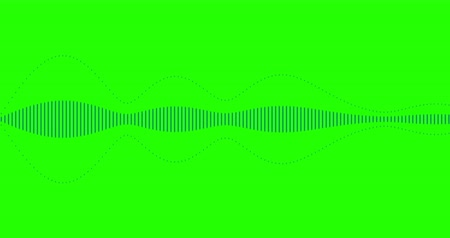 soundtrack : blue digital equalizer audio spectrum sound waves on chroma key green screen background, stereo sound effect signal with vertical lines and alpha