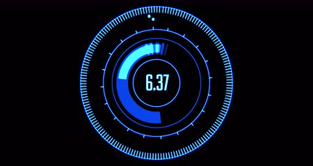 bússola : blue compass hud head-up displays with numbers digit on black background, concept of technology for Vídeos