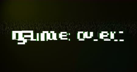 annoncer : vintage game over text title on tv screen noise background, with multi glitch effect, old technology computer entertainment gaming