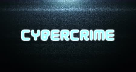neve : vintage cybercrime text title on tv screen noise background, with multi glitch effect, old technology computer hacker Stock Footage