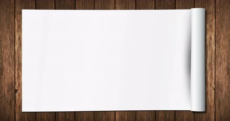 sheet : white paper unrolled with multi effects unrolled on old wood background, with alpha Stock Footage
