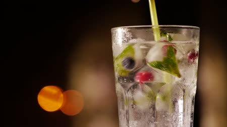 wódka : Glass with drink, ice, mint and berries on a blurry background