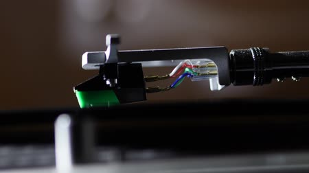 rock album : Spinning Record Player With Vintage Vinyl. Stock Footage