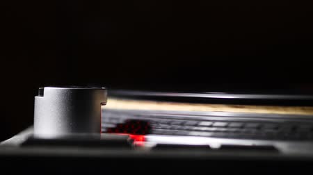 rpm : Spinning Record Player With Vintage Vinyl. Stock Footage