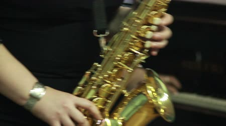 notes : mans hands playing a wind instrument