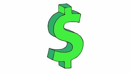 znak : Animation of dollar sign isolated on white background