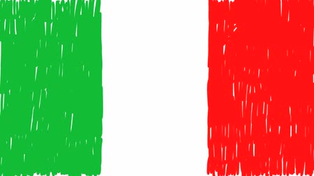 üç renkli : italian flag hand drawn animated Stok Video