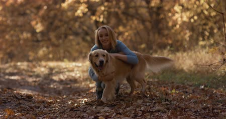 nenúfar : Young female playing with labrador golden retriever dog in park, slow motion Stock Footage
