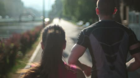 jogging : jogging couple Stock Footage