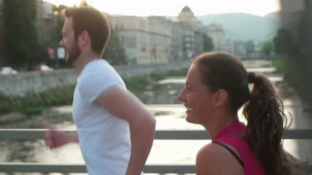 healthy couple jogging