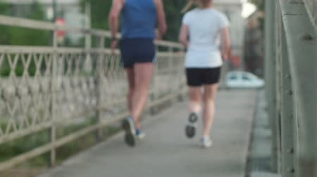 running man : healthy couple jogging