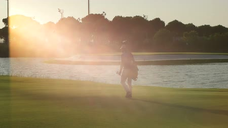 golfjátékos : young golf player with beard walking and carrying bag on course during sunset and sun flare at summer game golfing Stock mozgókép