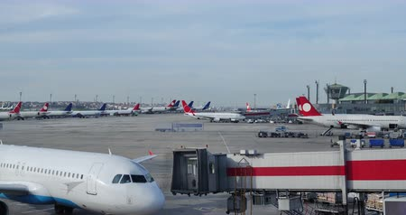 airport terminal timelapse clip on  busy day