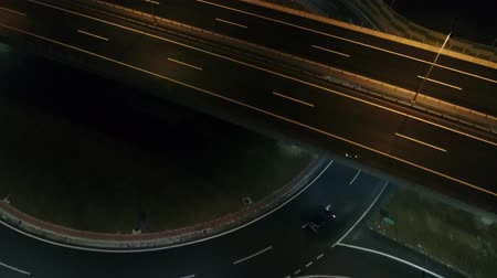 aerial view of empty highway city street in night urban and transportartion abstract concept background Stok Video