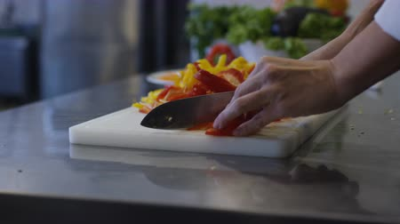 foodstuff : Chef Chopping Vegetables Food Prep Kitchen Restaurant Culinary Stock Footage