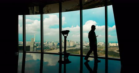 chi : The observation deck on a skyscraper with people in Saigon. Bitexco. Stock Footage