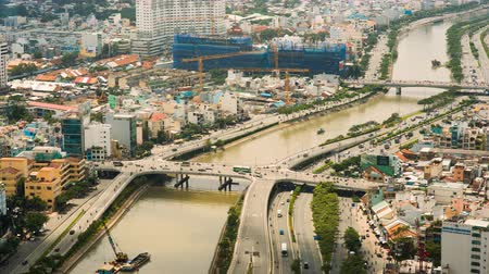 office life : Panoramic view of Ho Chi Minh city or Saigon. Vietnam. Stock Footage