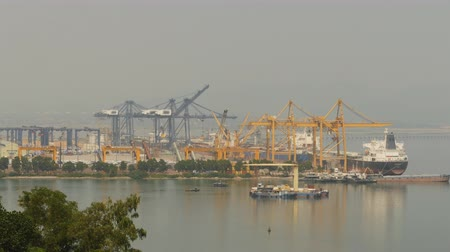 hawser : Cargo port in the work. Ha Long Bay. Vietnam.