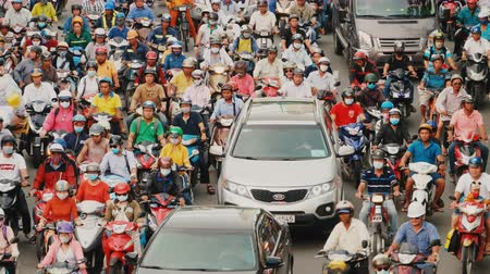 chi : HO CHI MINH, VIETNAM - OCTOBER 13, 2016: Peak hour. Dense traffic in Ho Chi Minh City. Vietnam.