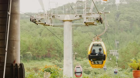 north vietnam : Cableway in Dalat city. Vietnam. Stock Footage