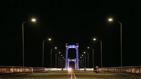 citynight : Thuan Phuoc Bridge at night. Night traffic. Da Nang, Vietnam.