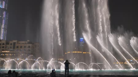 largest city : Dubai, UAE - May 15, 2018: Majestic dancing fountains in Dubai.
