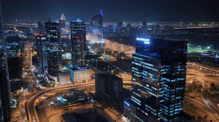khalifa : Big road junction in Dubai at night. Stock Footage