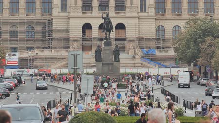 namesti : Prague, Czech Republic - August 5, 2018: Wenceslas square and National Museum in Prague, Czech Republic