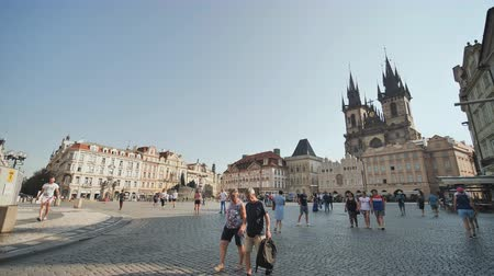 namesti : Prague, Czech Republic - August 5, 2018: Old Town and popular street in Prague, Czech Republic Stock Footage