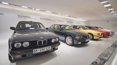 showcase : Munich, Germany - August 5, 2018: Exhibition of vintage and retro cars in the BMW Museum and BMW Headquarters, Munich, Bavaria, Germany.