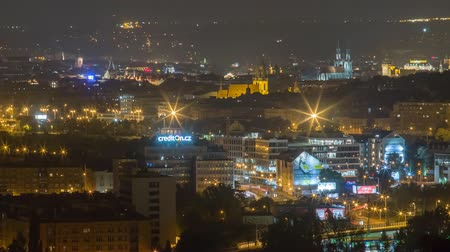 hradcany : Prague, Czech Republic - August 5, 2018: View of night Prague from the top