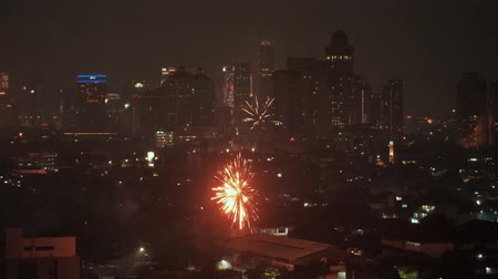 estouro : Jakarta, Indonesia - January 1, 2019: New Years 2019 fireworks in the capital of Indonesia, Jakarta.