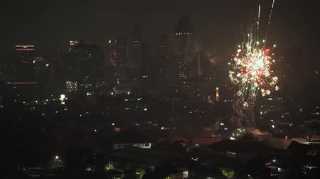szenteste : Jakarta, Indonesia - January 1, 2019: New Years 2019 fireworks in the capital of Indonesia, Jakarta.