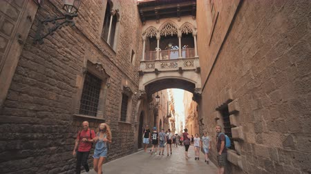 Barcelona, Spain - August 5, 2018: Bridge between buildings in Barri Gotic quarter of Barcelona, Spain. Vídeos