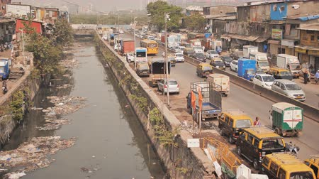 Mumbai, India - December 17, 2018: Dirty river in Dharavi slums. Mumbai. India.