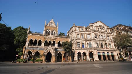 torre : Mumbai, India - December 17, 2018: David Sasson Library, Old British colonial buildings in Mumbai.