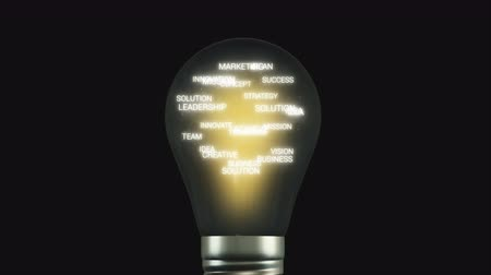 припадок безумия : Idea Bulb with Business Words Inside Close View Стоковые видеозаписи