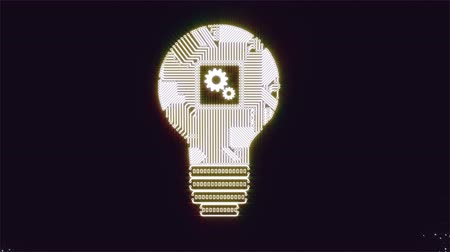Light bulb idea icon with gears with circuit board inside