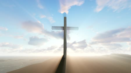 Cross with god ray Stock Footage